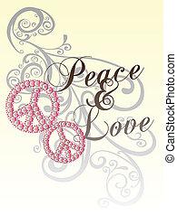 paz, amor, com, scroll, padrão