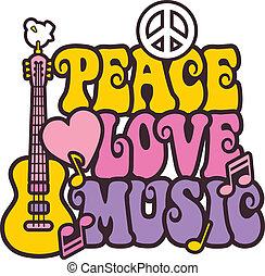 paz, amor, música, en, colores brillantes