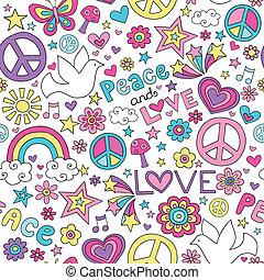 paz, amor, &, padrão, doodles, pomba