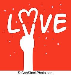 paz, amor, sinal mão