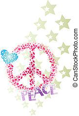 paz, bandeira, estrela, coração