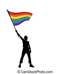 paz, bandera, ilustración, vector, tenencia, hombre