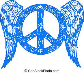 paz, com, asa, símbolo