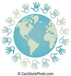 paz de mundo, colorido, design.
