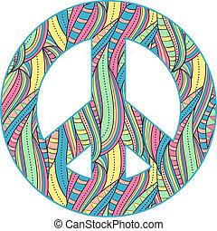 paz, fundo, símbolo, branca