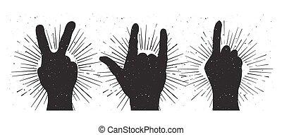 paz, grunge, mão, indicação, rocha, sinal, silhouettes:
