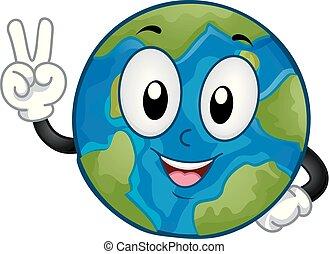 paz, ilustração, mão, sinal terra, mascote