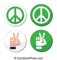 paz, jogo, ícones, sinal, vetorial, mão