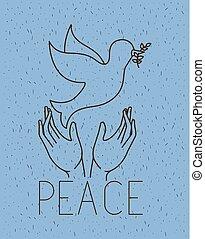 paz mundial, pomba, mãos