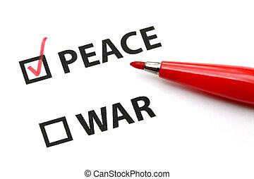 paz, o, guerra