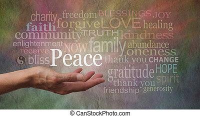 paz, palma, seu, mão