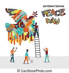 paz, pessoas, trabalho, diverso, equipe, mundo, dia, cartão