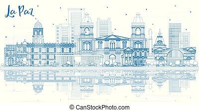 paz, reflections., la, bâtiments, bolivie, horizon ville, ...