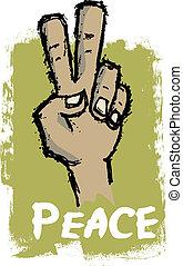 paz, sinal mão