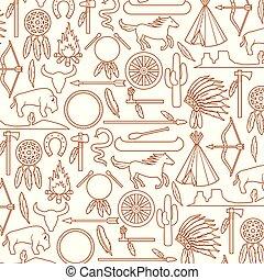 paz, tomahawk, cavalo, paisagem, ícones, padrão, indigenas, canoa, chefe, seta, bisonte, nativo, cacto, wigwam, (bow, campfire, fundo, cobra, headdress, americano, machado, cano, catch), sonho