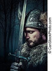 paz, viking, estilo, vestido, bárbaro, guerreira, swor, macho