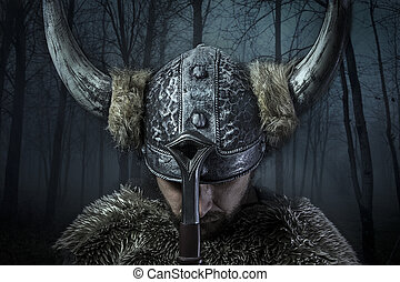paz, viking, estilo, vestido, barbudo, bárbaro, espada, guerreira, macho