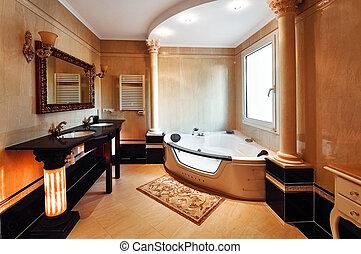 pazar, fürdőszoba, alatt, klasszikus, mód, noha, oszlop, közül, corinthian., fürdőszoba, noha, két, mosdókagyló, és, egy, jacuzzi., a, elhallgattat, és, közfal, noha, marble.