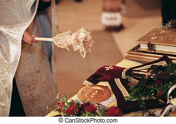 pazar, gyűrű, alatt, a, church., esküvő ünnepély
