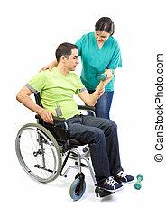 paziente, fisico, terapeuta, mani, lavori in corso, sollevamento, pesi