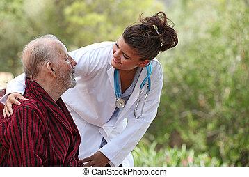 paziente, (focus, casa, man), infermiera, cura