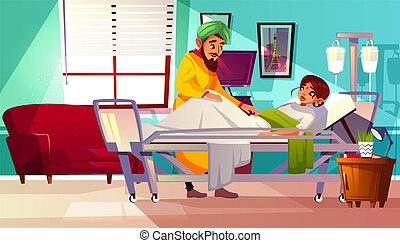 paziente, indiano, ospedale, illustrazione, vettore, pupillo