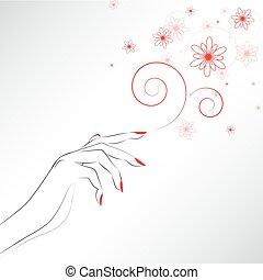 paznokcie, czerwony, ręka