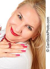 paznokcie, kobieta, blond, twarz