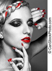 paznokcie, kobieta, młody, czerwony