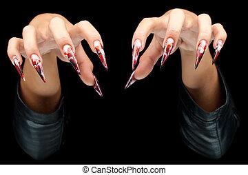 paznokcie, kobieta, sztuka, siła robocza