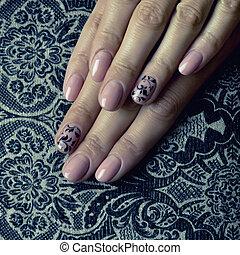 paznokcie, sztuka, piękny