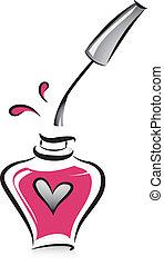 paznokieć froterują, butelka, otwarty, różowy