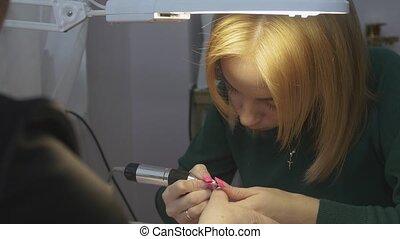 paznokieć, kobieta, piękno, apparatus., paznokcie, hardware, pan, manicure, polski, salon, szczególny