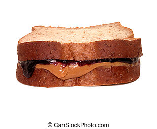 Peanutbutter and jelly sandwich. Whole wheat bread. Blackberry jelly.