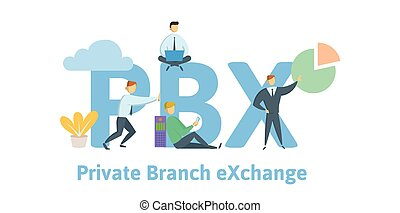 PBX, private branch exchange. Concept with keywords, letters and icons. Flat vector illustration on white background.