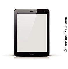 pc, écran, noir, blanc, tablette
