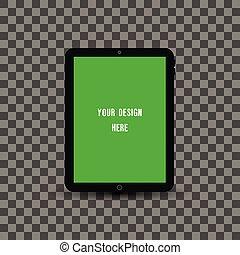 pc, écran, noir, transparent, tablette