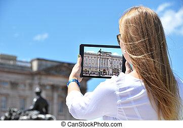 pc, écran, palais, tablette, buckingham