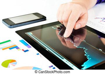 pc, écran, toucher, tablette, main