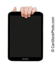pc, デジタルタブレット, 手