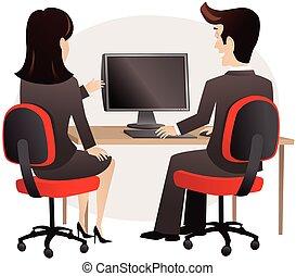 pc, 女, 人間が座る