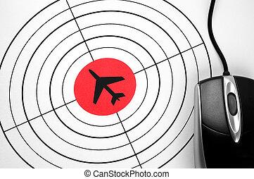 pc, 形, マウス, ターゲット, 飛行機