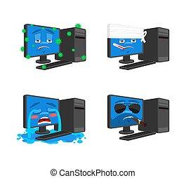 pc, 状態, set., コレクション, brutal., コンピュータ, sad., 病気, 包帯をされた, データプロセッサ, emoji