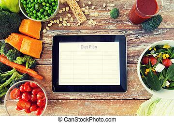 pc, 食事, 野菜, タブレット, の上, 計画, 終わり