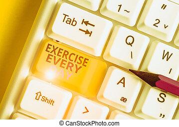 pc, acima, adquira, conceitual, vazio, tecla, saudável, foto, day., movimento, mostrando, papel, ordem, texto, nota, branca, sinal, corporal, cópia, fundo, exercício, teclado, ajustar, energeticamente, cada, space.