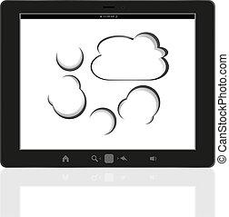 pc, anslutning, cloud-computing, kompress, digital