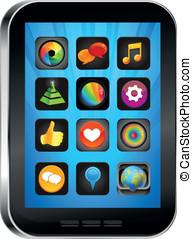 pc, app, luminoso, tabuleta, ícones