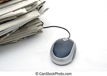 pc., aviser, pakke, mus, næste
