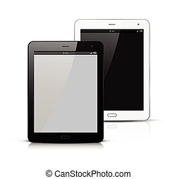 pc, blanc, noir, tablette, mockup