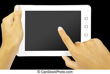 pc, blanc, tablette